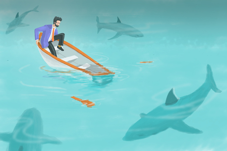 Digital art painting, illustration on business concept in  bad situation, businessman seeing his boat sinking with boat leaking and group of shark surrounding him.  Фото со стока