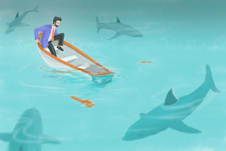 Het digitale kunst schilderen, illustratie op bedrijfsconcept in slechte situatie, zakenman die zijn boot zien zinken met boot het lekken en groep die haai hem omringen. Stockfoto