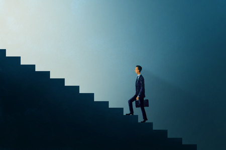 brighter: Illustration digital art painting, business concept, businessman walking up on step forward glow light, representing to brighter future or opportunity.