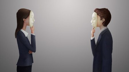 insincerity: Digital art painting, illustration of business man and woman hide his or her real feeling or face behind mask, business concept in hypocrisy, fake, liar, conceal, or insincere.  Stock Photo