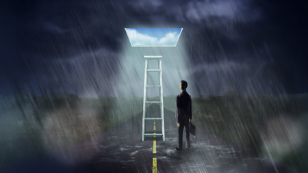 brighter: Illustration digital art painting, businessman walk alone in rainy and storming day, can find ladder that can step up to magic window, leading to brighter day, white cloud and blue sky, metaphor to shortcut to future or great opportunity.