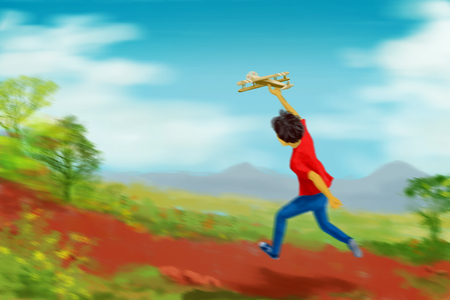 Illustration digital art painting, happy boy running and playing handmade or DIY toy aircraft or airplane, with motion blur speed effect. Natural background in beautiful day, white cloud, blue sky, surrounding with grass and green tree.