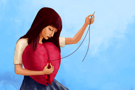 Illustration digital art painting, crying woman sewing broken heart shape, presenting to broken hearted woman try to mend her feeling. Blue background. Stok Fotoğraf