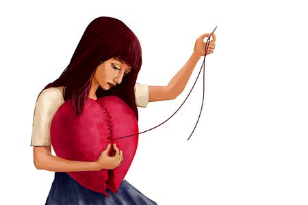 Ilustración de la pintura de arte digital, mujer llorando la forma de corazón roto, la presentación de la mujer de corazón roto tratar de reparar su sentimiento. Fondo blanco.