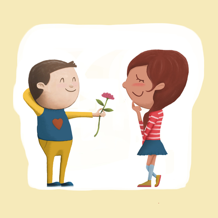 Digital painting illustration, cute character of shy boy giving flower to girl, beg for love, Valentines day concept, represent to innocent love.