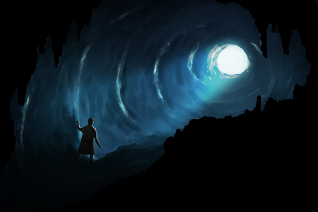 Illustration digital art painting, man walk in deep cave seeing glowing light at the exit, represent to proverb, there is a light at the end of the tunnel.   Stok Fotoğraf