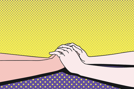 clasping: Lovers making clasping hands to share comfort feeling,  vector illustration ink drawing, pop art, vintage style.