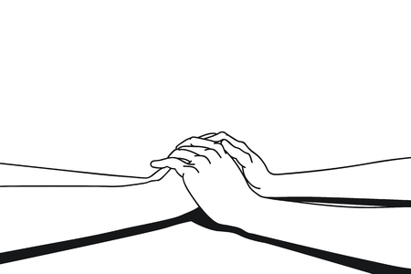 seperated: Lovers making clasping hands to share comfort feeling,  vector illustration ink drawing style, black and white. Seperated layer background, you can change color background easily.