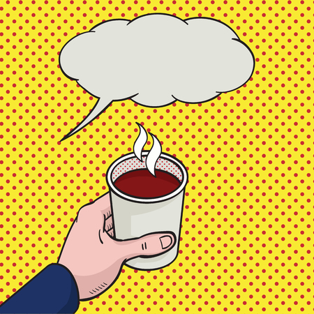 hot cup: Illustration pop art style of hand holding cup of hot coffee, with speech bubble for your text or copy space.