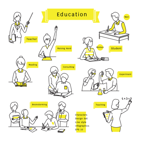 Character design set, line icons, drawing, sketching, education concept, students and teachers, man, woman, friends, various activities.