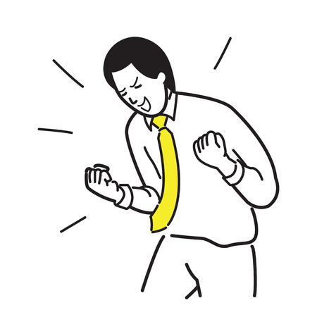 draw a sketch: Character of office worker, businessman, holding fists, celebrating, shouting, happy, excited, expressing happiness and success. Line draw and sketch design, simple style.