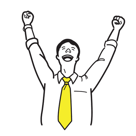Office worker, businesssman, raising hands and fists, with happy emotion, business concept in happiness, celebration, refreshment, or successful. Line sketching , doodle, hand draw, and simple style.