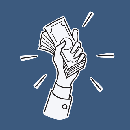 Hand holding pile of money banknotes, business concept in wealthy, rice, payment, cash, or trading.