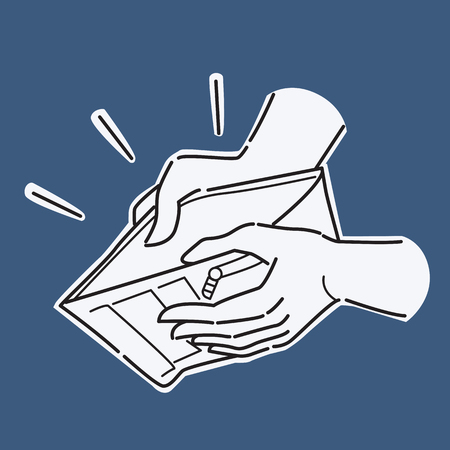 Hand holding and open wallet with nothing, presenting to concept of no money, bankruptcy, poverty, failure, crisis financial, or downturn ecomony. Vector illustration, line and doodle sketching style, simple design.