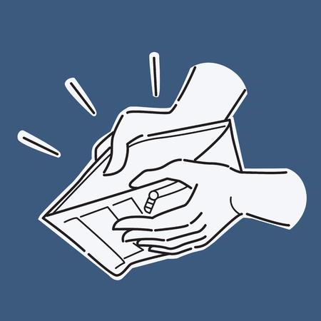 Tenendo la mano e portafoglio aperto con nulla, presentando al concetto di niente soldi, fallimento, povertà, fallimento, crisi finanziaria, o crisi economica. Illustrazione vettoriale, linea e stile di schizzo di doodle, design semplice. Vettoriali
