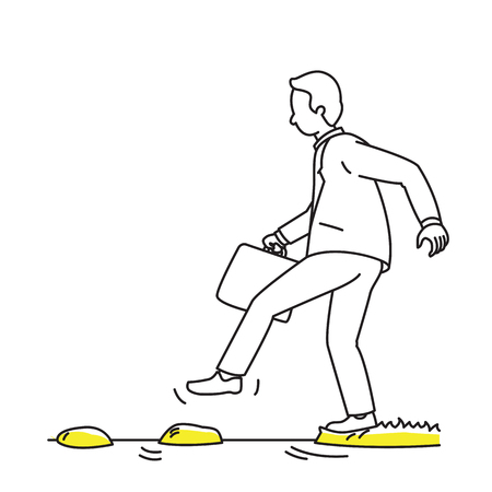 Sketching character of businessman, hesitate to walk on rock on water. Business concept in dare to do, bravery, or walk carefully. Simply design with minimal style.