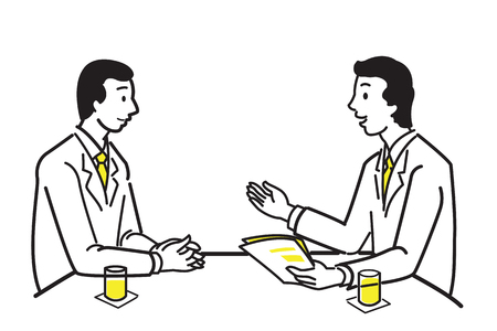 workmate: Businessman discussing, presenting, training, or explaining to his partner, team, workmate, or customer, at meeting table. Line and outline drawing design, simple style.