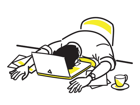 Vector illustration character of tired businessman sleeping on laptop, at his desk, presenting to overloaded working, exhausted, weary. Line draw style, simple design.