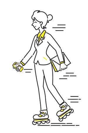 rollerblade: Businesswoman, office worker, playing rollerblading or roller skating at workplace. Line drawing and sketching illustration style, simple design.