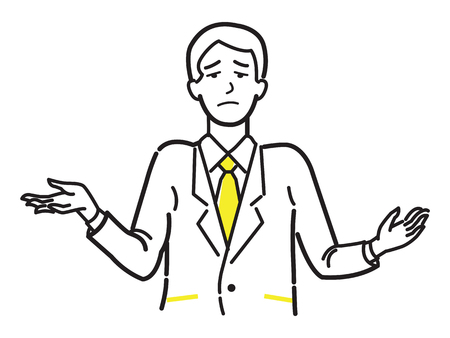 Unhappy and unsatisfied businessman make gesture shrugging shoulders. Line draw or sketch design, simple style.