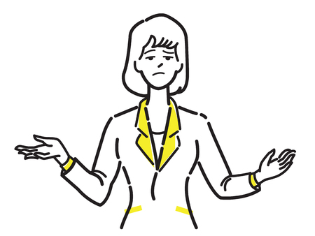 Unhappy and unsatisfied businesswoman make gesture shrugging shoulders. Line draw or sketch design, simple style.