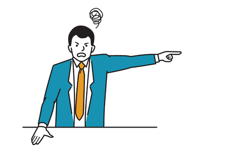 Angry boss, manager, businessman, make gesture to pointing finger away out in sign of get out or you are fired. Line draw sketch design, simple style.