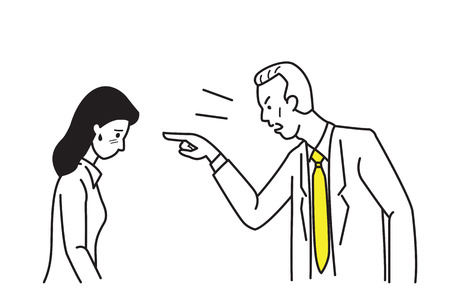 draw a sketch: Angry boss, manager, businessman, complaining businesswoman who can be secretary, businesswoman, office worker, by pointing at her face in anger emotion. Line draw and sketch design style. Illustration
