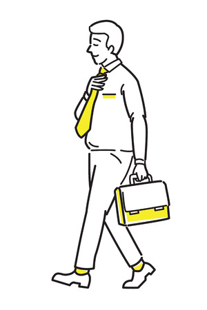 Full length of confident businessman, happy and smiling, walking forward, holding briefcase, go to work. Line draw sketch design, simple style.