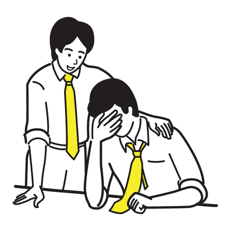 Businessman consoling his friend or workmate who stressed, upset, and in bad emotion, by putting hand on shoulder. Concept of partnership, friendship, consoling.