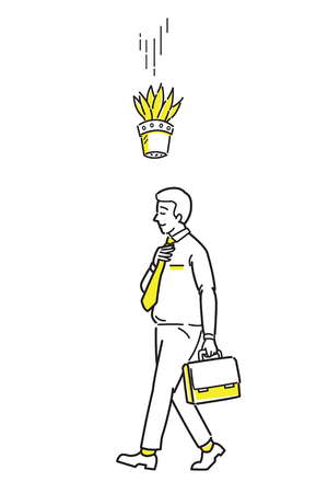 Businessman walking forward but the tree pot falling down to his head, metaphor to unexpected bad luck may happen. Line draw sketch design, simple style. Illustration