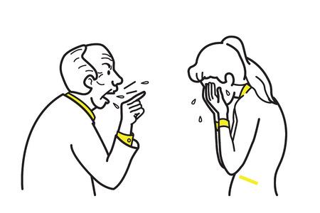 Personaje de ilustración vectorial de jefe enojado gritando y quejándose empleado femenino. Línea y dibujo del esquema, bosquejo, estilo del doodle.