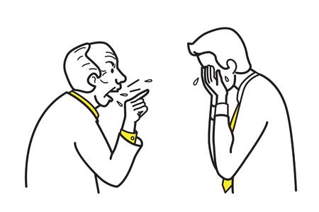 Vector illustration personnage de boss en colère en train de crier et se plaindre d'un employé. Dessin de lignes et de contours, croquis, style doodle.