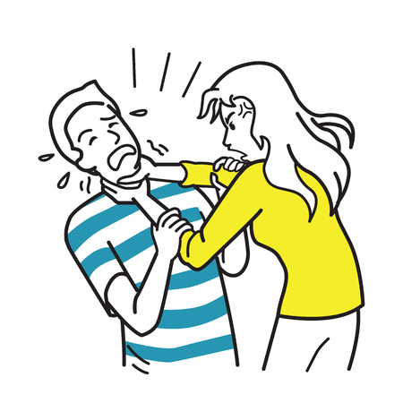 Husband and wife argueing, furious and angry woman strangling mans neck. Vector illustration character, hand draw, sketch, doodle, funny cartoon style.