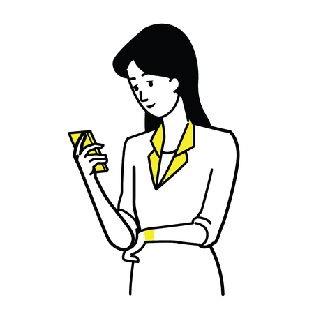 Vector illustration character of young pretty businesswoman holding and using smartphone. Line draw, sketch, doodle style. Illustration