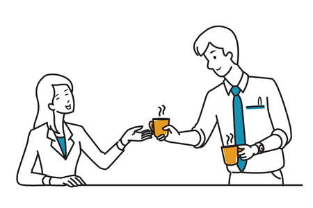 draw a sketch: Businessman, office worker, give a cup of coffee to his colleague, friend, partner, co-worker, as his kindness, friendship, good relationship. Line draw, sketch, doodle style, simple design.