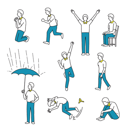 draw a sketch: A vector illustration character of man in various actions or activities, walking, running, raising hands, sitting, jumping, happy, accident, slide on a banana leaf, sad, holding an umbrella, praying. Line, outline, sketch, draw, doodle style.