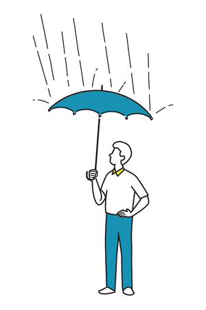 weatherproof: Vector illustration character of man holding umbrella, protection from rain fall. Line sketck, draw, doodle style. Simple design.