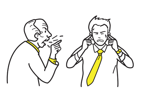 A vector illustration character of an angry boss shouting and complaining his employee, while pointing a finger to hiding ears in the concept of not want to hear. Line, outline, draw, sketch, doodle style. Ilustração