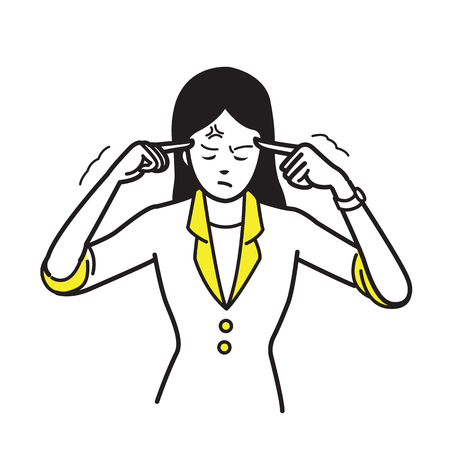A vector illustration of a businesswoman pointing a finger to her forehead in the way of stressed, serious thinking, migraine headache. Line draw, sketch style.