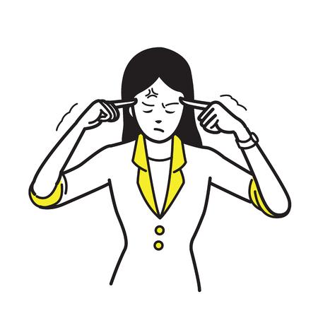 Een vectorillustratie van een onderneemster die een vinger richt aan haar voorhoofd op de manier van beklemtoond, het ernstige denken, migrainehoofdpijn. Lijntekening, schetsstijl.
