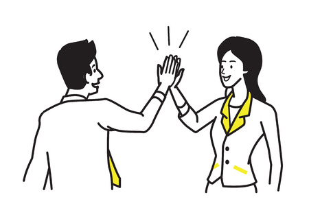 Businessman giving high five to his partner businesswoman. Business concept of cooperation, partnership, celebration, enjoyment. Vector illustration character, draw, sketch, doodle style.