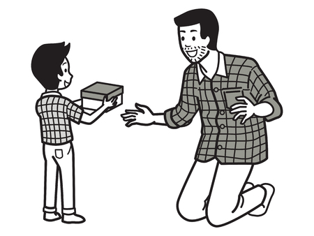 Hijo que da la caja de regalo al papá con expresar la emoción feliz y de la sorpresa, concepto de la relación de familia en el día de padre, día de fiesta, vacaciones. Personaje de ilustración vectorial, contorno dibujar a mano estilo, doodle, dibujos animados, diseño simple.