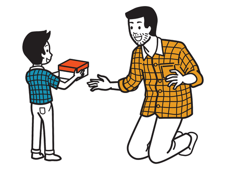 Son giving gift box to dad with expressing happy and surprise emotion, family relationship concept in Fathers Day, holiday, vacation. Vector illustration character, outline hand draw style, doodle, cartoon, simple color design. Illustration