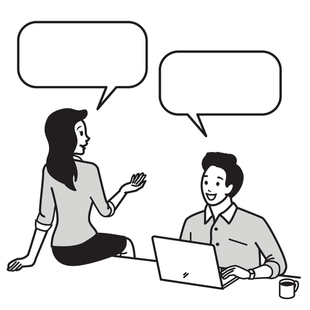 Young businesswoman sitting on desk talking, discussing, chatting in relax posing with colleague businessman who typing laptop computer. Business concept in communication, friendship, happy partner, enjoyful office worker. Vector illustration character, o