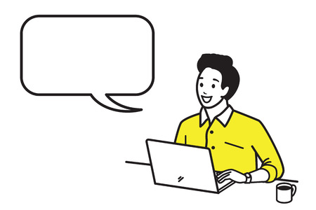 Happy and smiling young man working with laptop with a cup of hot coffee in morning time. Vector illustration character in outline style, hand draw, sketching, doodle, cartoon design. Speech bubble, blank space, copy space. Иллюстрация
