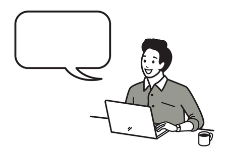 young black man: Happy and smiling young man working with laptop with a cup of hot coffee in morning time. Vector illustration character in outline style, hand draw, sketching, doodle, cartoon, gray tone design. Speech bubble, blank space, copy space.