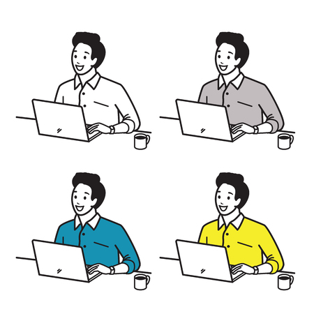 Vector illustration character set of happy and smiling young man, working cheerful with computer laptop, with morning cup of coffee. Various color, hand draw, sketching, doodle, cartoon style. Illustration