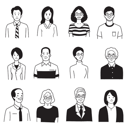 Vector illustration character portrait of smiling people, various, group, multi-ethnic, diversity, many nationalities, generation. Simple hand draw, sketch, doodle, cartoon, balck and white color style.