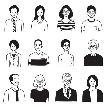 Vector ilustración personaje retrato de personas sonrientes, diversos, grupo, multiétnico, diversidad, muchas nacionalidades, generación. Mano simple dibujar, boceto, doodle, dibujos animados, balck y estilo de color blanco.