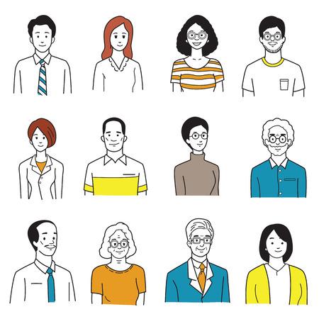 Vector illustratie karakter portret van lachende mensen, verschillende, groep, multi-etnische, diversiteit, vele nationaliteiten, generatie. Eenvoudige hand tekenen, schets, doodle, cartoon en kleurstijl.